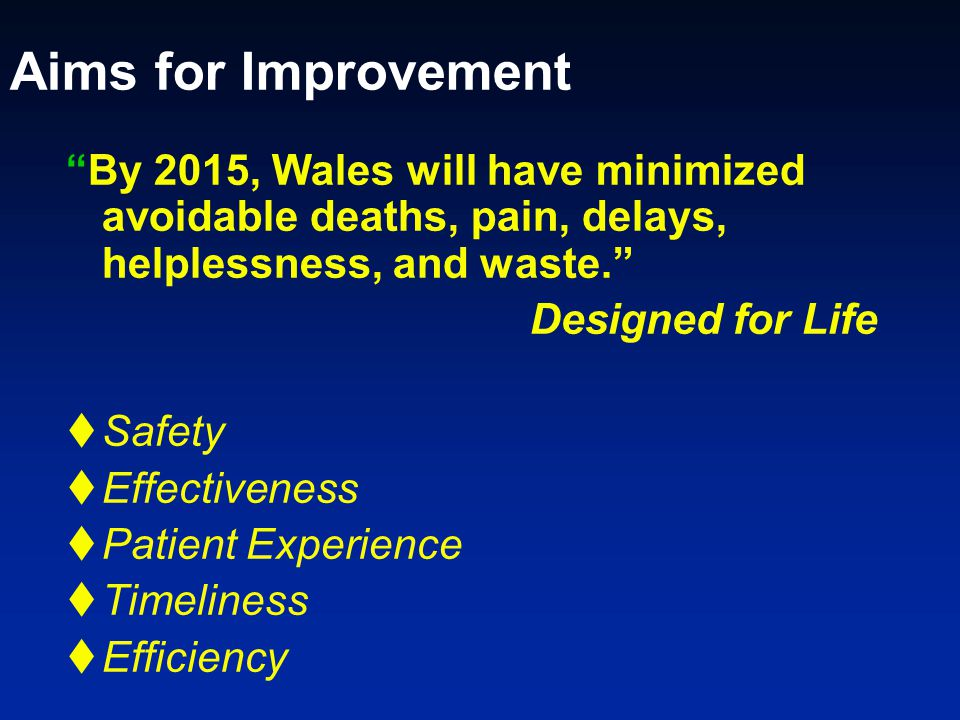Aims for Improvement By 2015, Wales will have minimized avoidable deaths, pain, delays, helplessness, and waste. Designed for Life  Safety  Effectiveness  Patient Experience  Timeliness  Efficiency