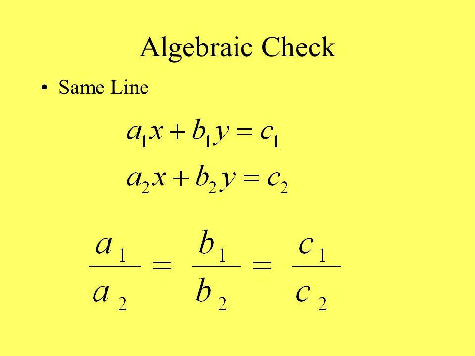 Algebraic Check Same Line