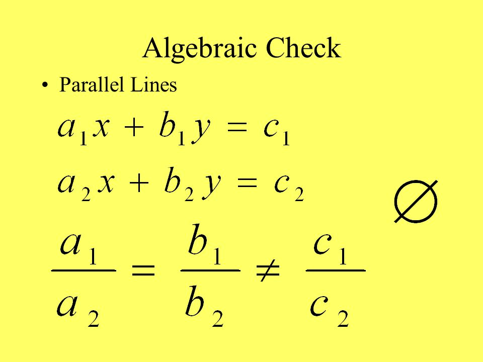 Algebraic Check Parallel Lines