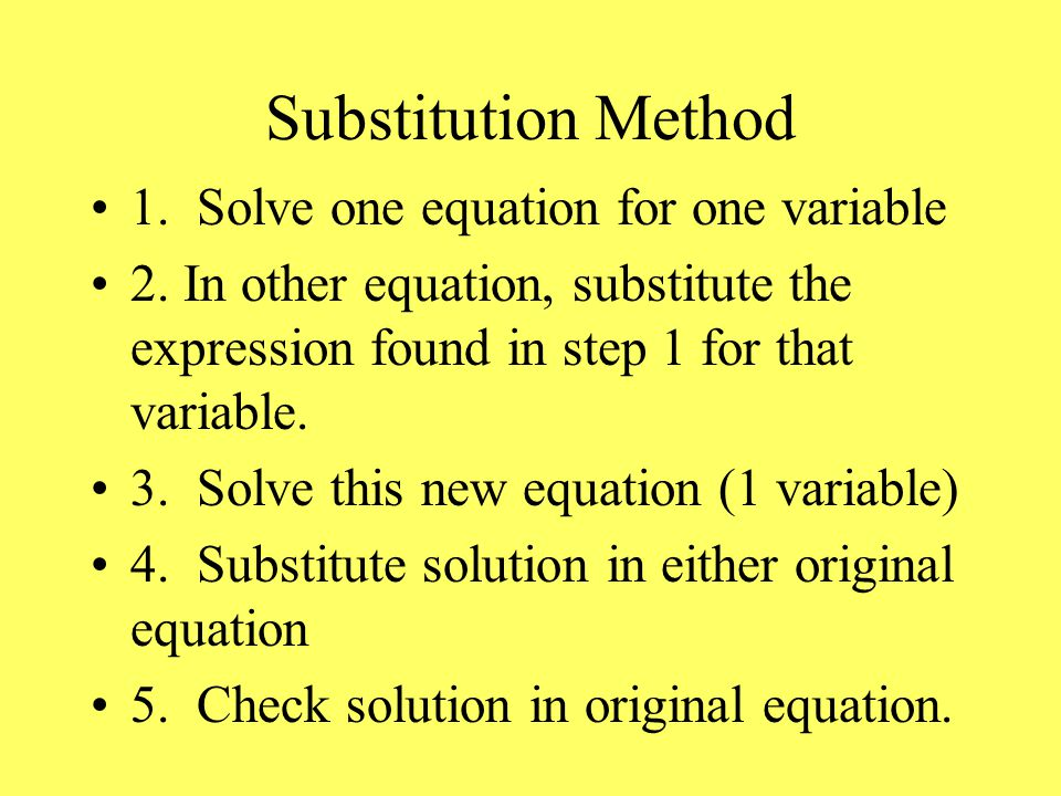Substitution Method 1. Solve one equation for one variable 2.