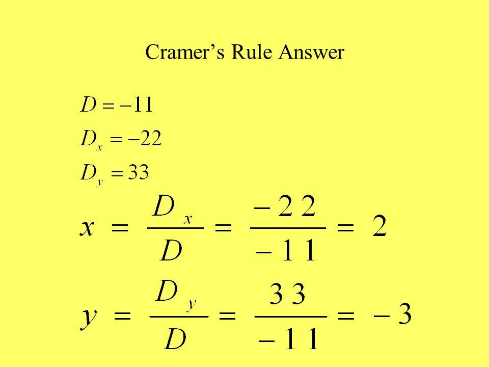 Cramer's Rule Answer
