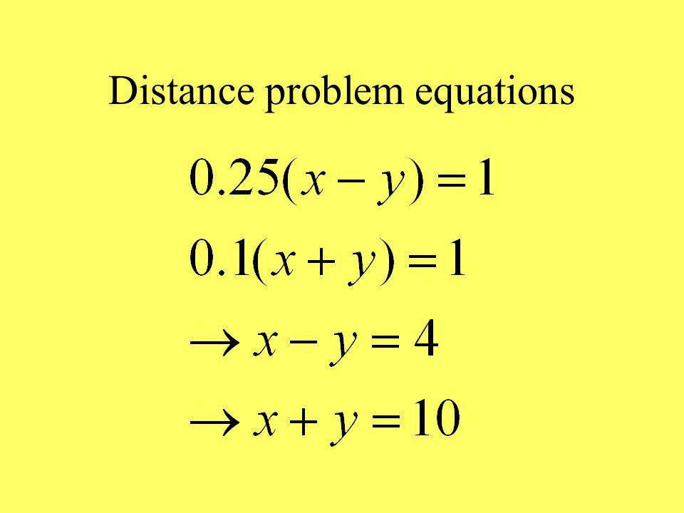 Distance problem equations