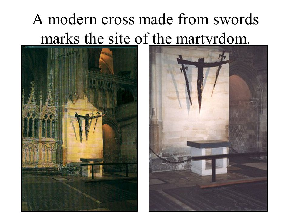 A modern cross made from swords marks the site of the martyrdom.