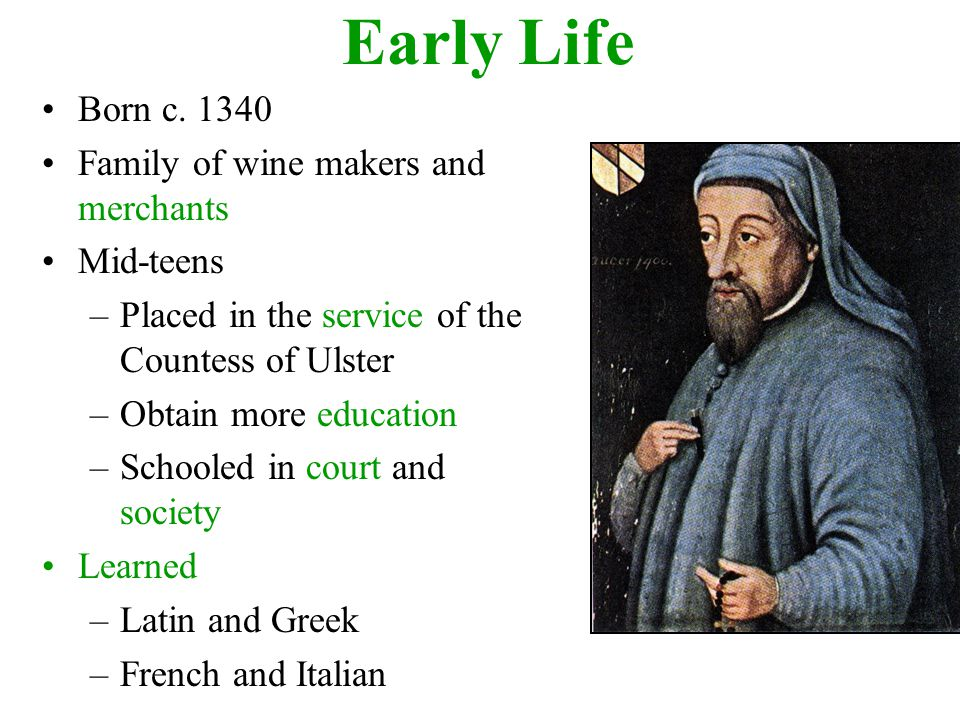 Other Jobs Chaucer Held/Learned from Controller of Customs on Wools, Skins and Hides for the Port of London –Businessmen, Sailors, Travelers, City Folk and Common Laborers Clerk of the King's Works –Construction and repairs affecting the royal residences –Guildsmen and Court Officials Deputy Forester of the King's Forests –Away from the city –Peasants, Foresters, Local Clergy and other Country Folk Representative of the Shire of Kent in Parliament –The Rich, the Influential and the Upper Middle Class –Higher ranking Church Officials