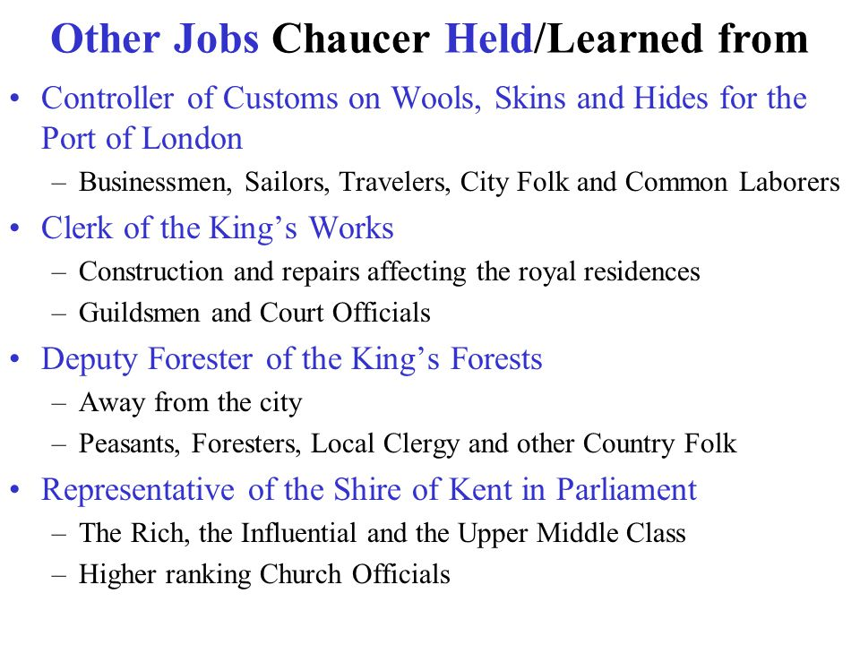 Other Jobs Chaucer Held/Learned from Controller of Customs on Wools, Skins and Hides for the Port of London –Businessmen, Sailors, Travelers, City Fol