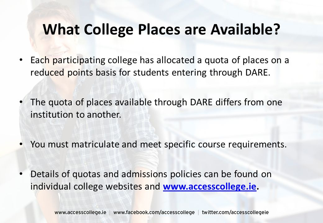 What College Places are Available? Each participating college has allocated a quota of places on a reduced points basis for students entering through