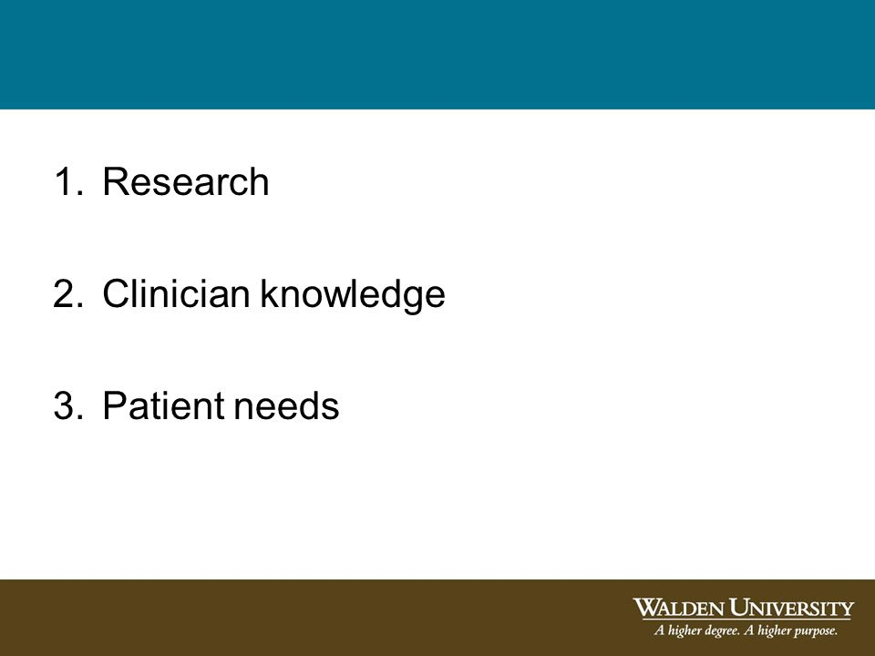 1.Research 2.Clinician knowledge 3.Patient needs