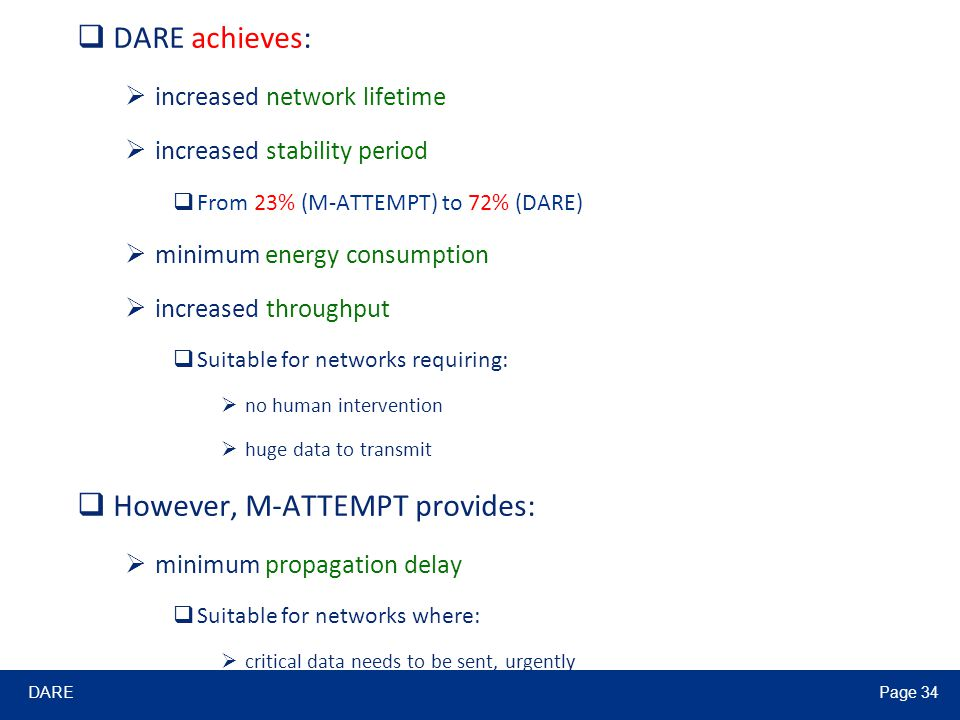 DAREPage 34  DARE achieves:  increased network lifetime  increased stability period  From 23% (M-ATTEMPT) to 72% (DARE)  minimum energy consumpti
