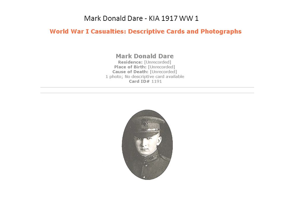 Mark Donald Dare - KIA 1917 WW 1