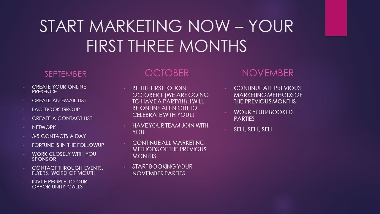 START MARKETING NOW – YOUR FIRST THREE MONTHS SEPTEMBER CREATE YOUR ONLINE PRESENCE CREATE AN EMAIL LIST FACEBOOK GROUP CREATE A CONTACT LIST NETWORK