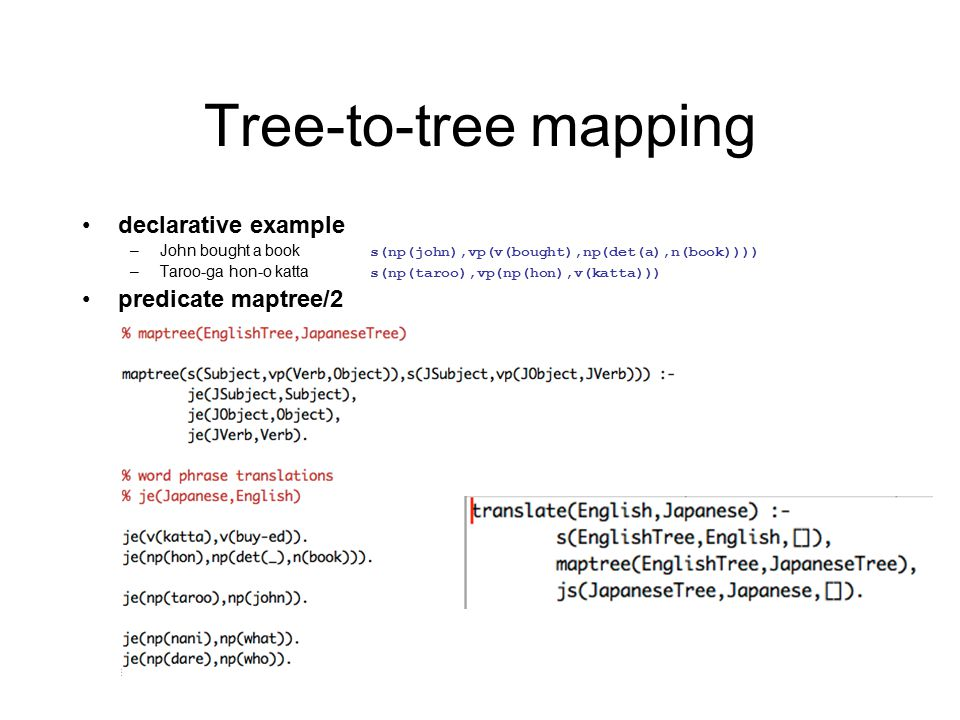 Tree-to-tree mapping declarative example –John bought a book s(np(john),vp(v(bought),np(det(a),n(book)))) –Taroo-ga hon-o katta s(np(taroo),vp(np(hon),v(katta))) predicate maptree/2