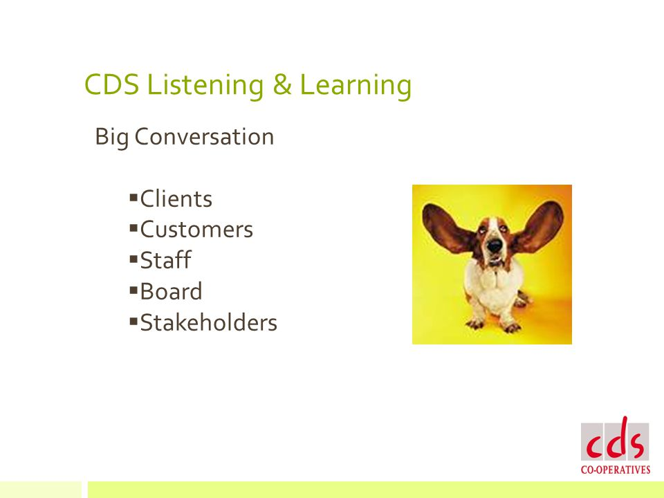 CDS Listening & Learning Big Conversation  Clients  Customers  Staff  Board  Stakeholders