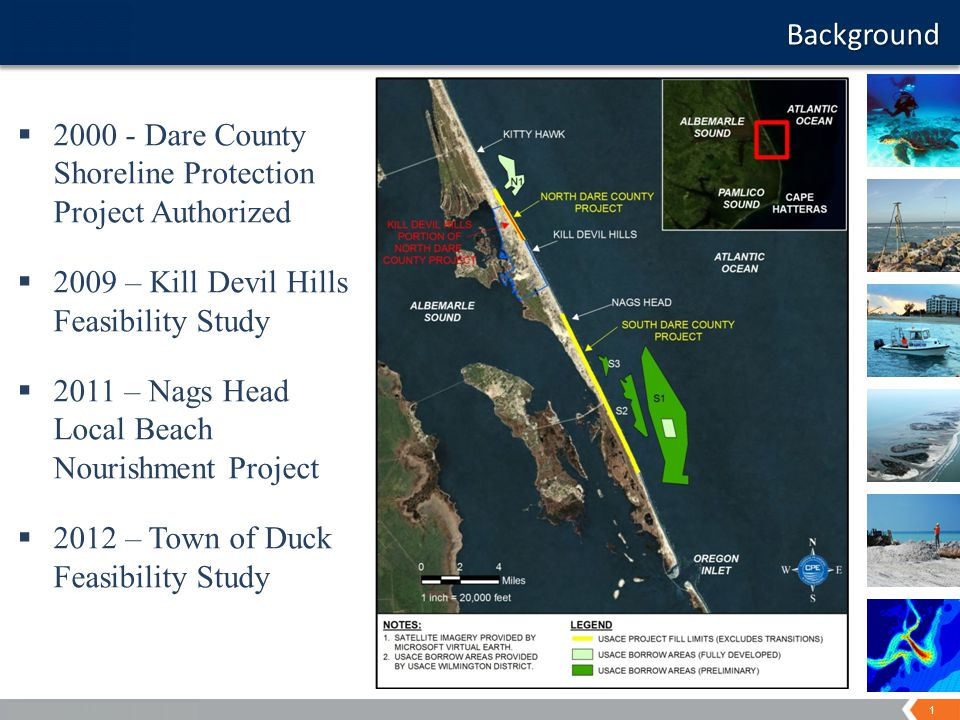 1 A World of Solutions Background  2000 - Dare County Shoreline Protection Project Authorized  2009 – Kill Devil Hills Feasibility Study  2011 – Nags Head Local Beach Nourishment Project  2012 – Town of Duck Feasibility Study
