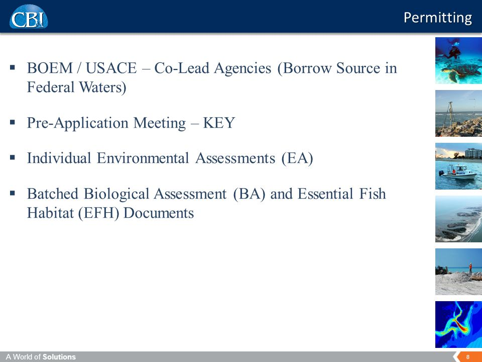 8 A World of Solutions  BOEM / USACE – Co-Lead Agencies (Borrow Source in Federal Waters)  Pre-Application Meeting – KEY  Individual Environmental Assessments (EA)  Batched Biological Assessment (BA) and Essential Fish Habitat (EFH) Documents Permitting