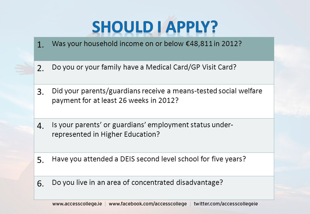 Application advice clinics11th January 2014 HEAR closing date DARE closing date 1 March 2014 Supporting documents closing date 1 April 2014 Notification of eligibilityLate June 2014 Application recheckJuly 2014 HEAR/DARE offersAugust 2014 College OrientationLate Aug /Early Sept 2014