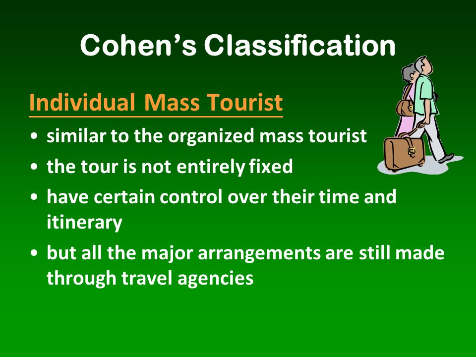 Individual Mass Tourist similar to the organized mass tourist the tour is not entirely fixed have certain control over their time and itinerary but al