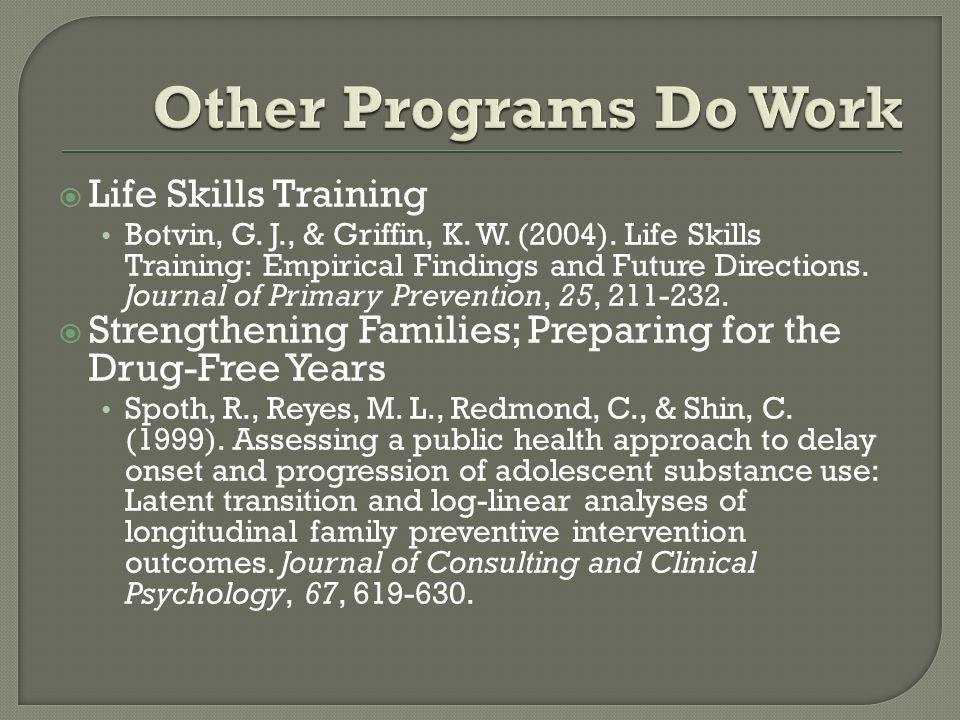  Life Skills Training Botvin, G. J., & Griffin, K.