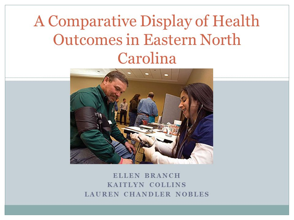 ELLEN BRANCH KAITLYN COLLINS LAUREN CHANDLER NOBLES A Comparative Display of Health Outcomes in Eastern North Carolina