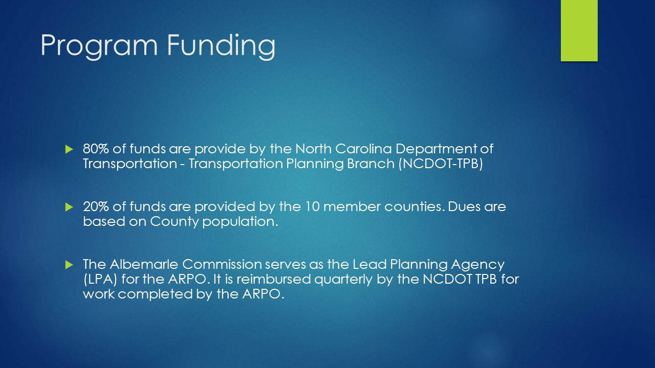 Program Funding  80% of funds are provide by the North Carolina Department of Transportation - Transportation Planning Branch (NCDOT-TPB)  20% of funds are provided by the 10 member counties.