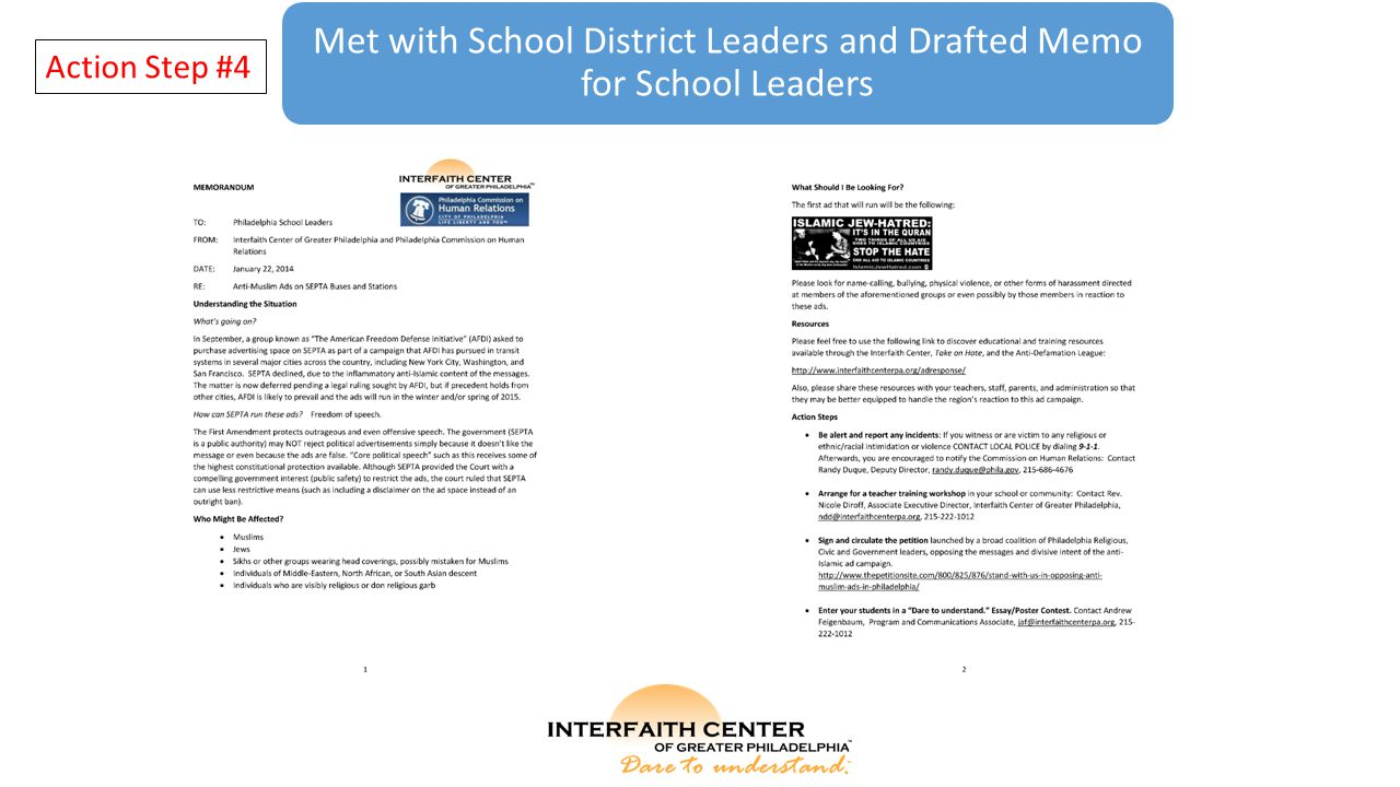 Met with School District Leaders and Drafted Memo for School Leaders Action Step #4