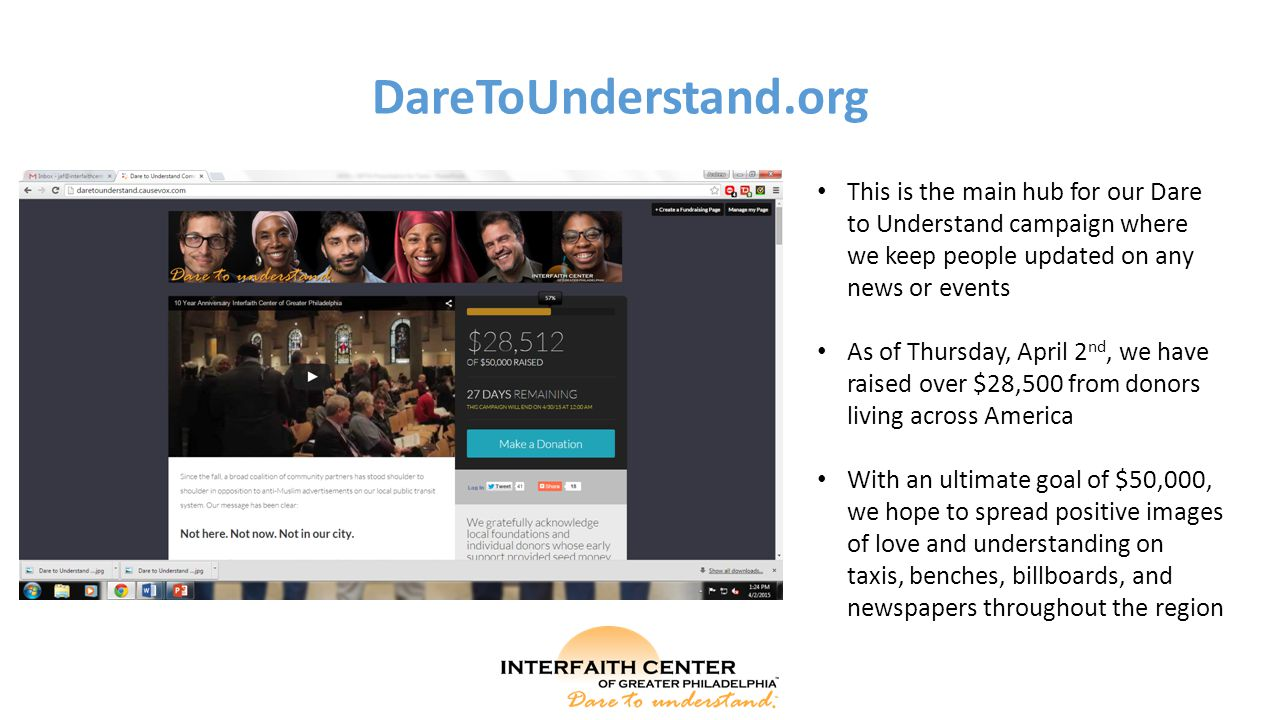 DareToUnderstand.org This is the main hub for our Dare to Understand campaign where we keep people updated on any news or events As of Thursday, April