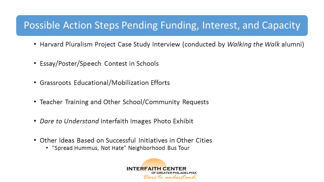 Possible Action Steps Pending Funding, Interest, and Capacity Harvard Pluralism Project Case Study Interview (conducted by Walking the Walk alumni) Essay/Poster/Speech Contest in Schools Grassroots Educational/Mobilization Efforts Teacher Training and Other School/Community Requests Dare to Understand Interfaith Images Photo Exhibit Other Ideas Based on Successful Initiatives in Other Cities Spread Hummus, Not Hate Neighborhood Bus Tour