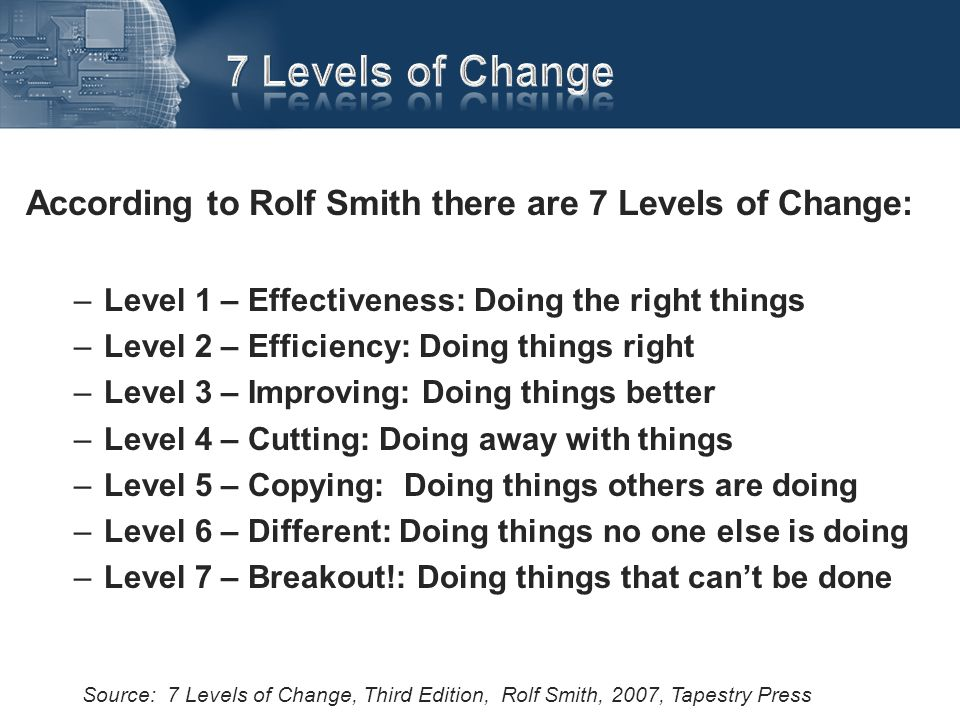 According to Rolf Smith there are 7 Levels of Change: –Level 1 – Effectiveness: Doing the right things –Level 2 – Efficiency: Doing things right –Leve