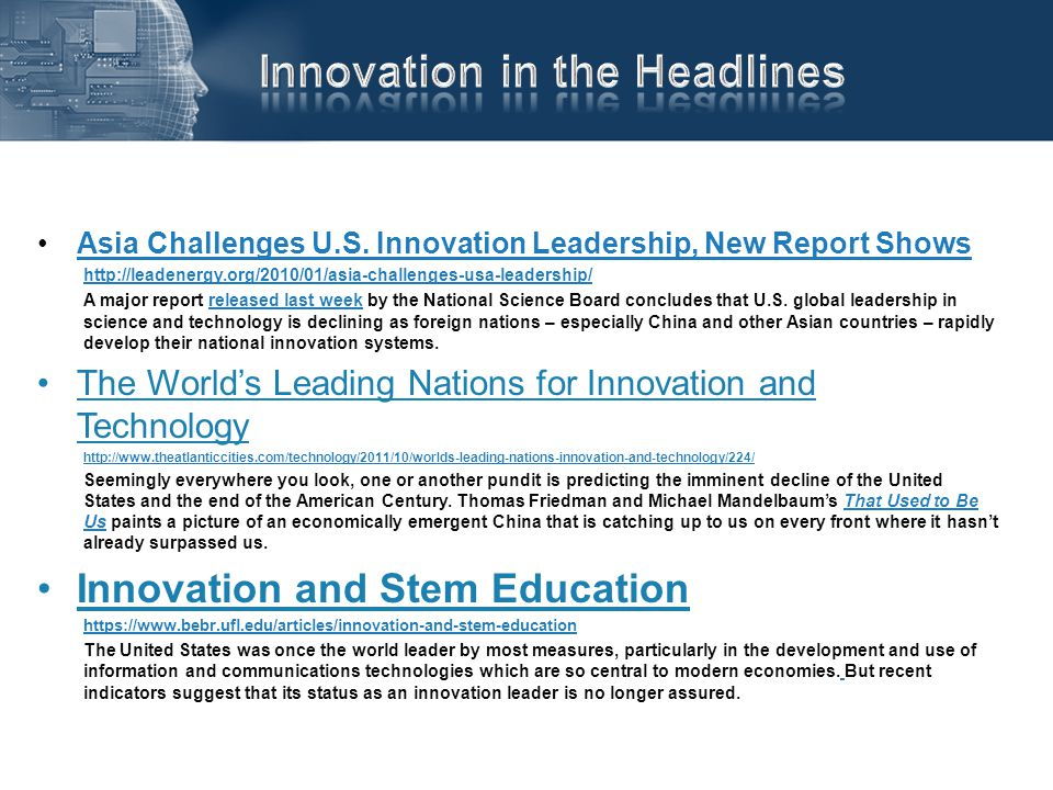 Asia Challenges U.S. Innovation Leadership, New Report ShowsAsia Challenges U.S. Innovation Leadership, New Report Shows http://leadenergy.org/2010/01
