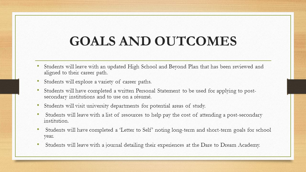 GOALS AND OUTCOMES Students will leave with an updated High School and Beyond Plan that has been reviewed and aligned to their career path.