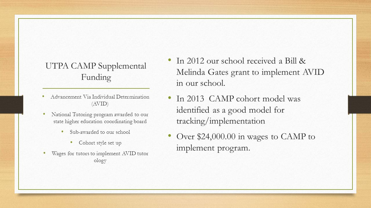 UTPA CAMP Supplemental Funding In 2012 our school received a Bill & Melinda Gates grant to implement AVID in our school.