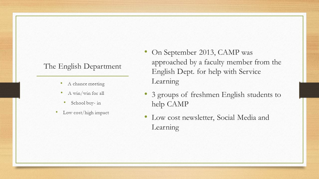 The English Department On September 2013, CAMP was approached by a faculty member from the English Dept.