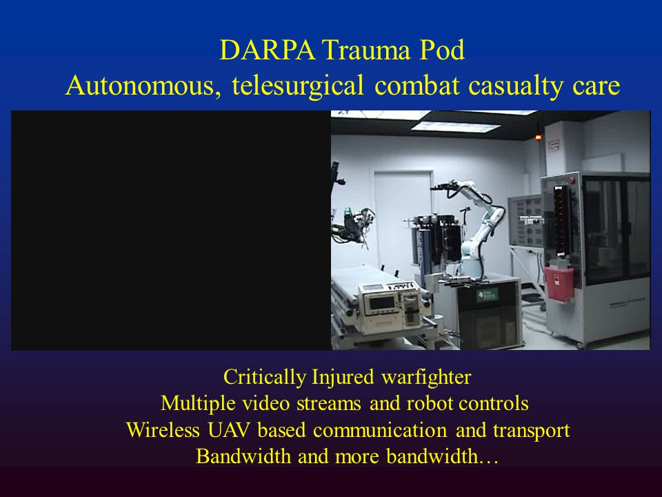 DARPA Trauma Pod Autonomous, telesurgical combat casualty care Critically Injured warfighter Multiple video streams and robot controls Wireless UAV based communication and transport Bandwidth and more bandwidth…