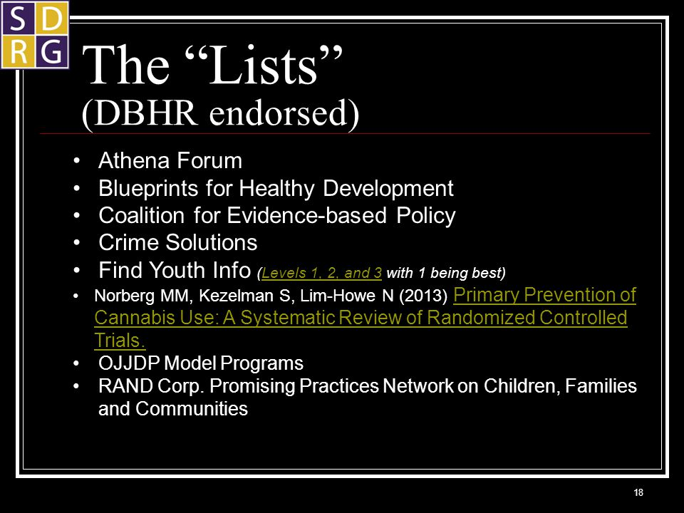 The Lists (DBHR endorsed) 18 Athena Forum Blueprints for Healthy Development Coalition for Evidence-based Policy Crime Solutions Find Youth Info (Levels 1, 2, and 3 with 1 being best)Levels 1, 2, and 3 Norberg MM, Kezelman S, Lim-Howe N (2013) Primary Prevention of Cannabis Use: A Systematic Review of Randomized Controlled Trials.