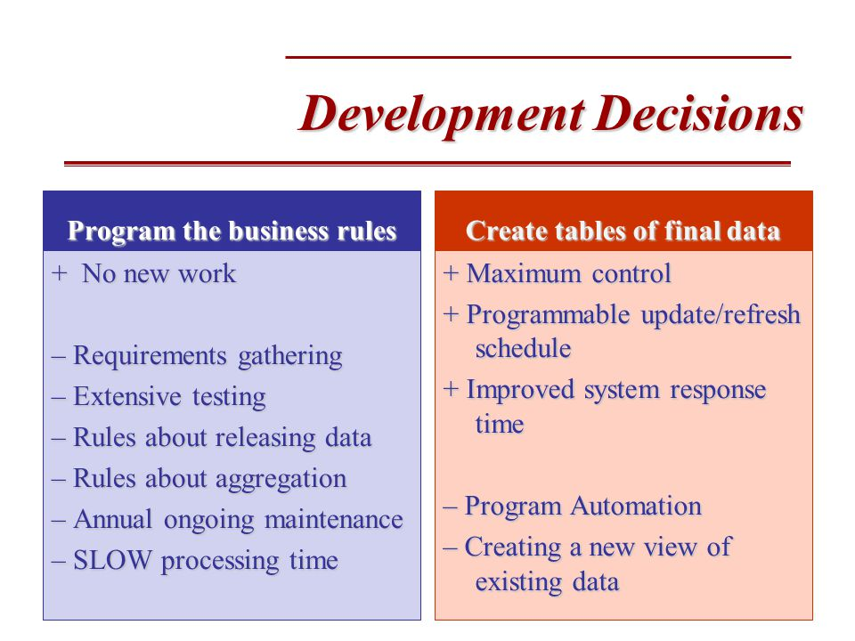 Development Decisions Program the business rules + No new work – Requirements gathering – Extensive testing – Rules about releasing data – Rules about aggregation – Annual ongoing maintenance – SLOW processing time Create tables of final data + Maximum control + Programmable update/refresh schedule + Improved system response time – Program Automation – Creating a new view of existing data
