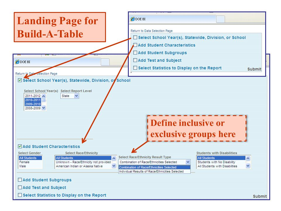 Define inclusive or exclusive groups here Landing Page for Build-A-Table