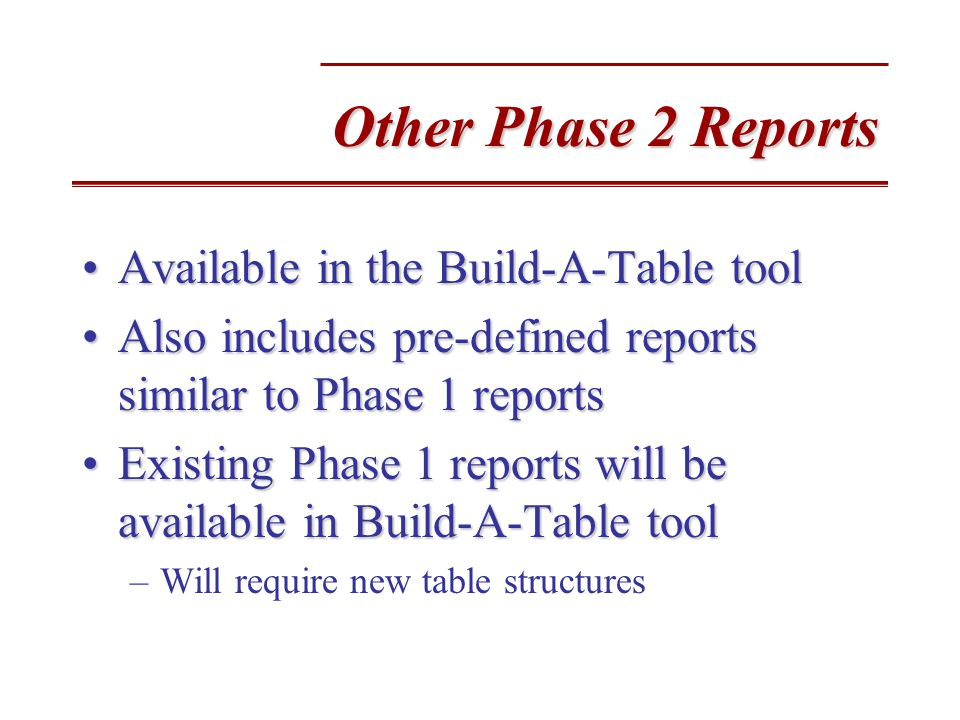 Other Phase 2 Reports Available in the Build-A-Table toolAvailable in the Build-A-Table tool Also includes pre-defined reports similar to Phase 1 reportsAlso includes pre-defined reports similar to Phase 1 reports Existing Phase 1 reports will be available in Build-A-Table toolExisting Phase 1 reports will be available in Build-A-Table tool –Will require new table structures