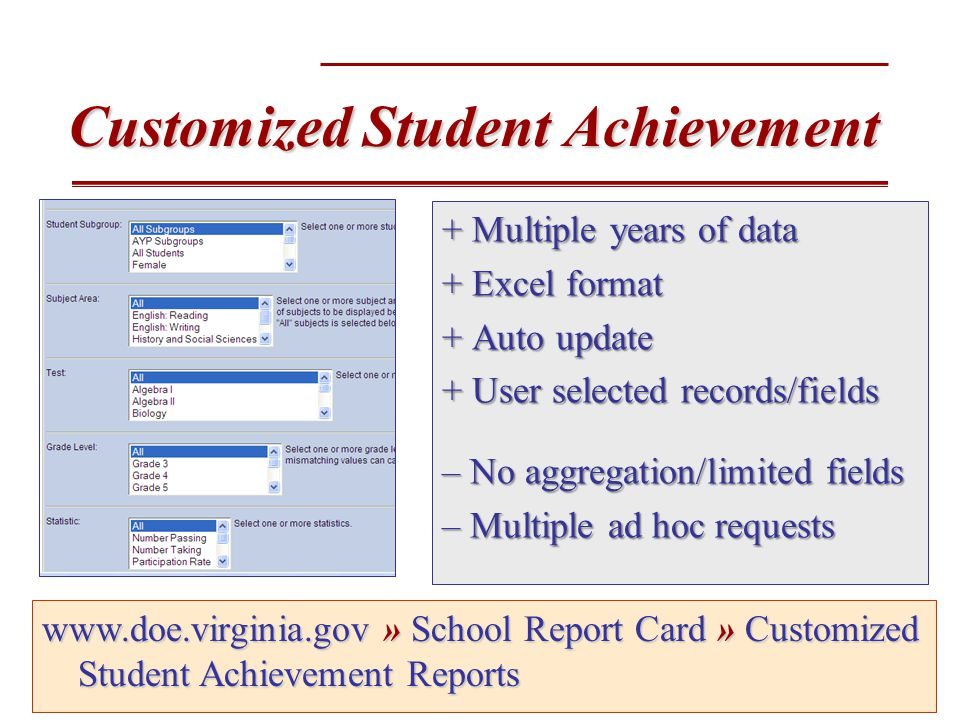 Customized Student Achievement + Multiple years of data + Excel format + Auto update + User selected records/fields – No aggregation/limited fields – Multiple ad hoc requests www.doe.virginia.gov» School Report Card » Customized Student Achievement Reports www.doe.virginia.gov » School Report Card » Customized Student Achievement Reports