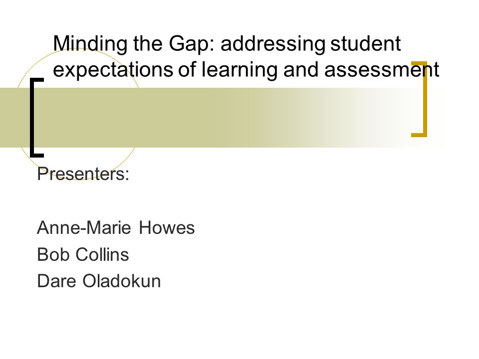 Minding the Gap: addressing student expectations of learning and assessment Presenters: Anne-Marie Howes Bob Collins Dare Oladokun