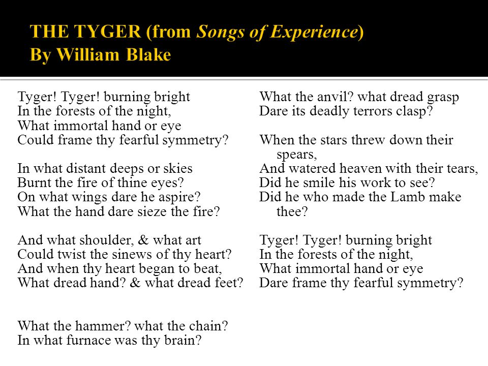 Tyger! Tyger! burning bright In the forests of the night, What immortal hand or eye Could frame thy fearful symmetry? In what distant deeps or skies B