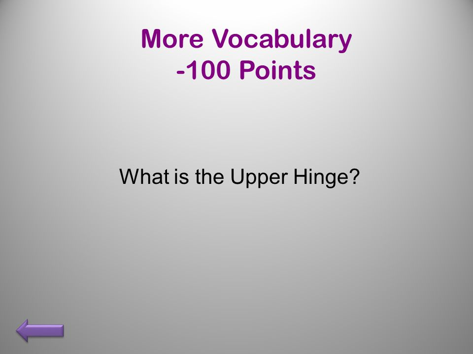 More Vocabulary -100 Points What is the Upper Hinge
