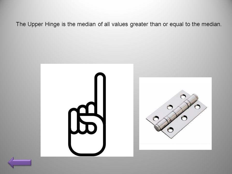 The Upper Hinge is the median of all values greater than or equal to the median.
