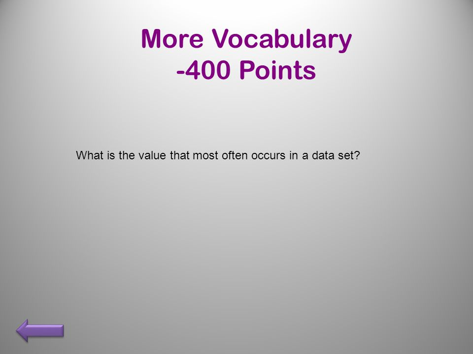 What is the value that most often occurs in a data set More Vocabulary -400 Points