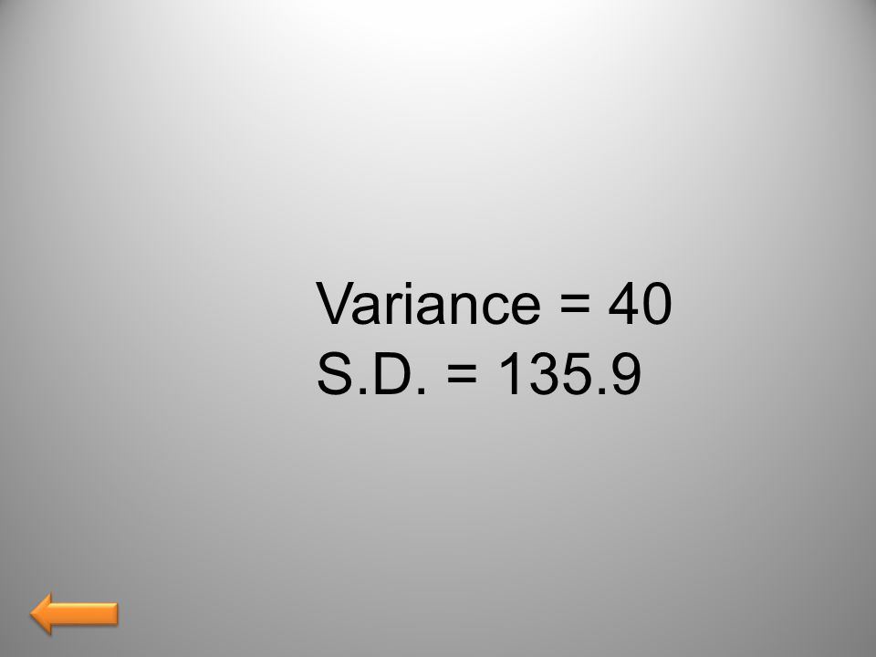 Variance = 40 S.D. = 135.9