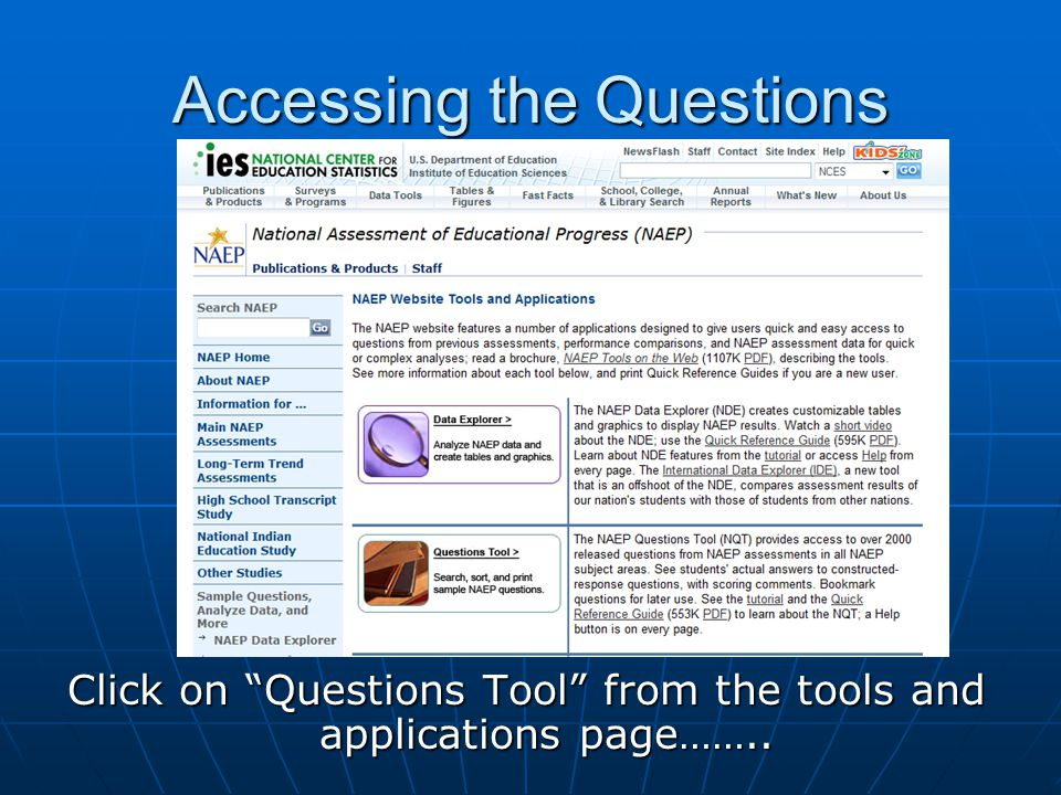 Accessing the Questions Click on Questions Tool from the tools and applications page……..