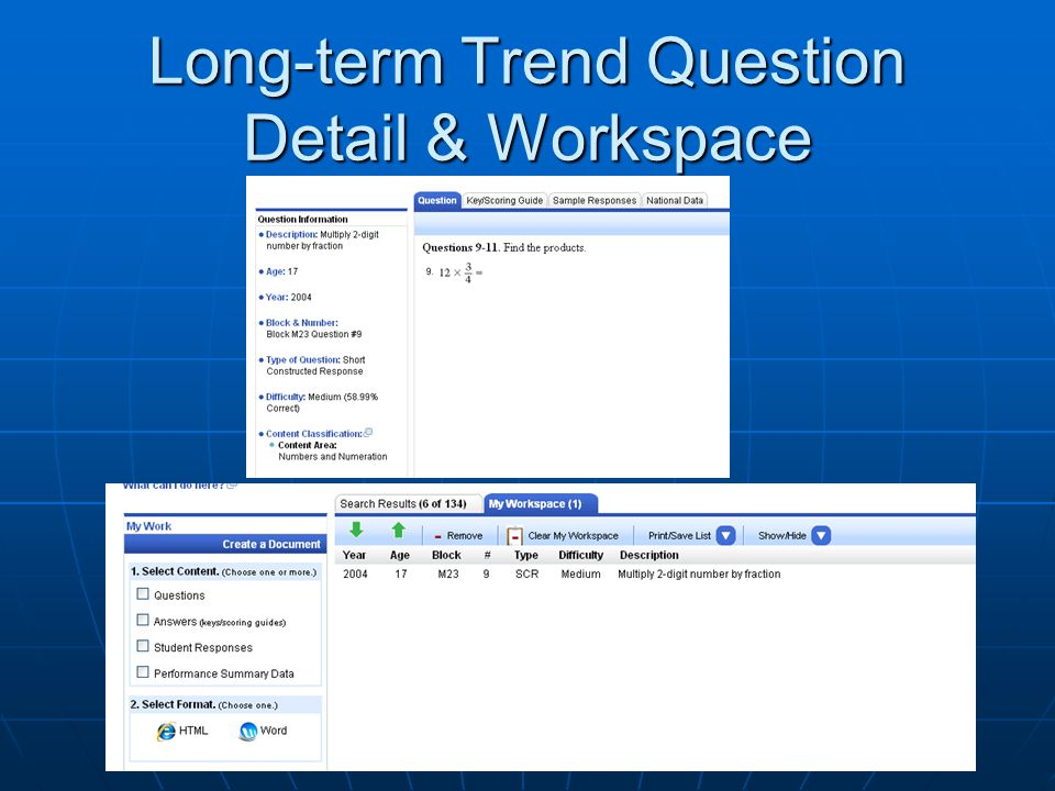 Long-term Trend Question Detail & Workspace