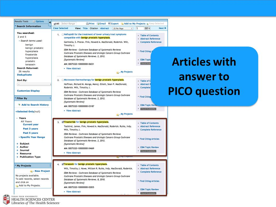 Articles with answer to PICO question Articles with answer to PICO question