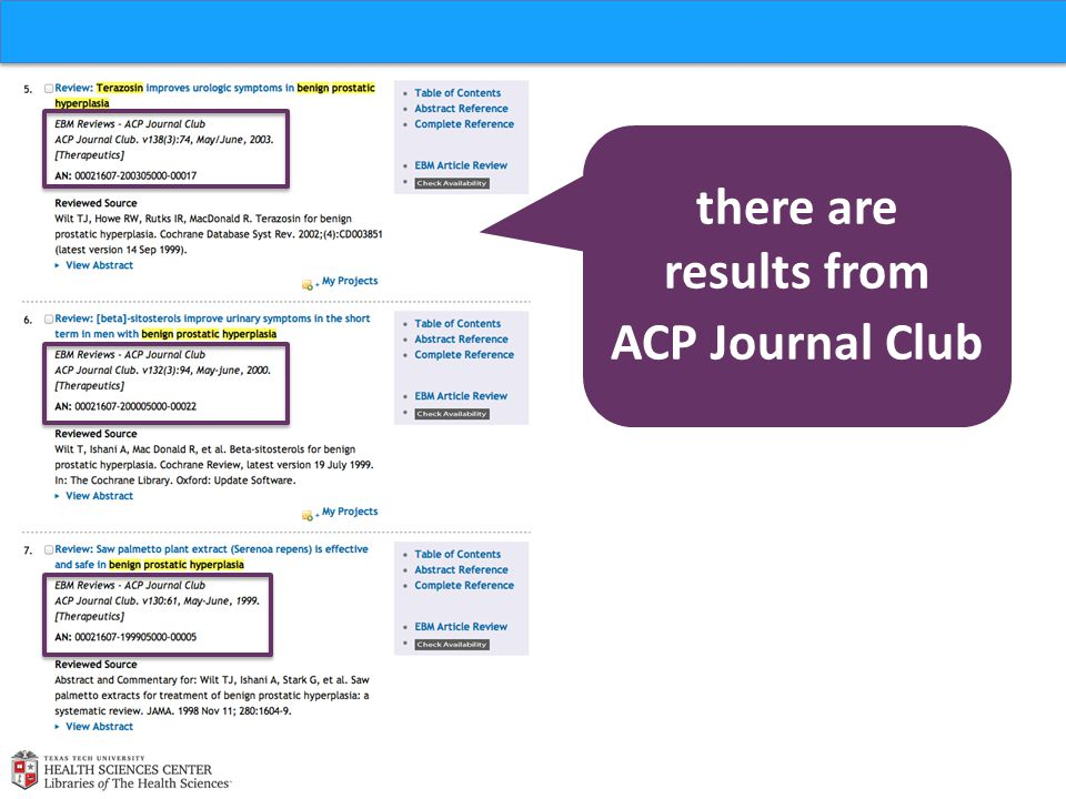 there are results from ACP Journal Club