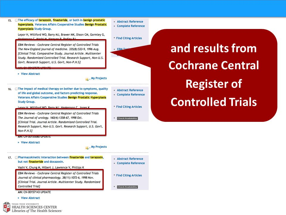 and results from Cochrane Central Register of Controlled Trials