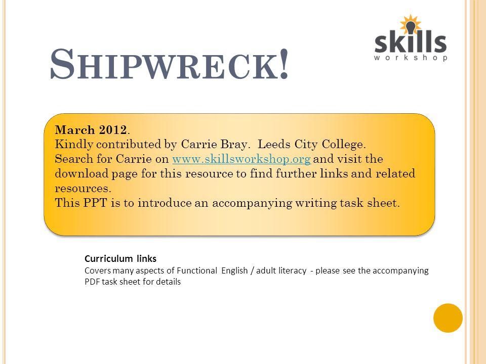 S HIPWRECK ! Dare you spend a night aboard..?