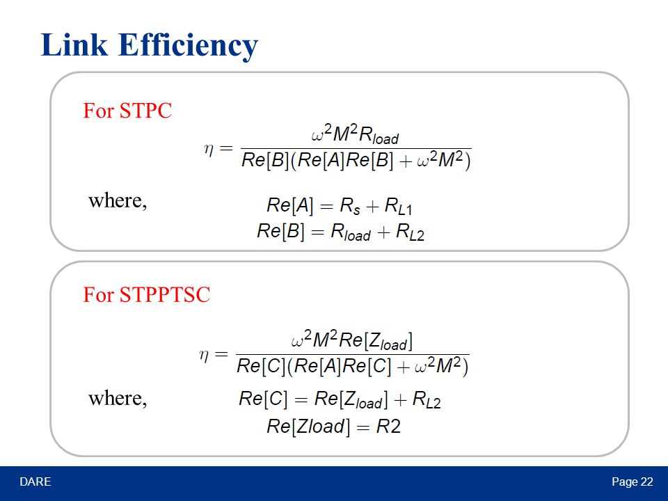 DAREPage 22 Link Efficiency For STPC For STPPTSC where,